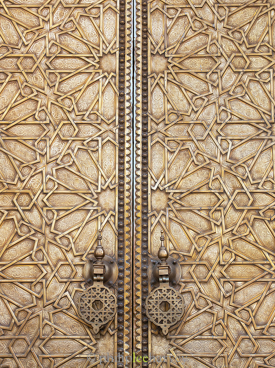 The large, decorative door at the Royal Palace Dar el-Makhzen in Fes, Morocco