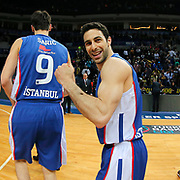 Anadolu Efes's Dogus Balbay celebrate victory during their Turkish Basketball League match Fenerbahce Ulker between Anadolu Efes at the Ulker Sports Arena in Istanbul, Turkey, Sunday 26 April, 2015. Photo by Aykut AKICI/TURKPIX