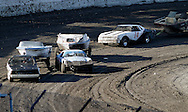 Competitors drive through a turn during the trailer races at the Antioch Speedway as part of the Contra Costa County Fair in Antioch on Sunday, June 3, 2012.  (Photo by Kevin Bartram)