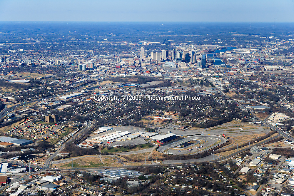 Aerial photo of the Downtown Nashville Skyline showing The Tennessee State Fairgrounds in the foreground.
