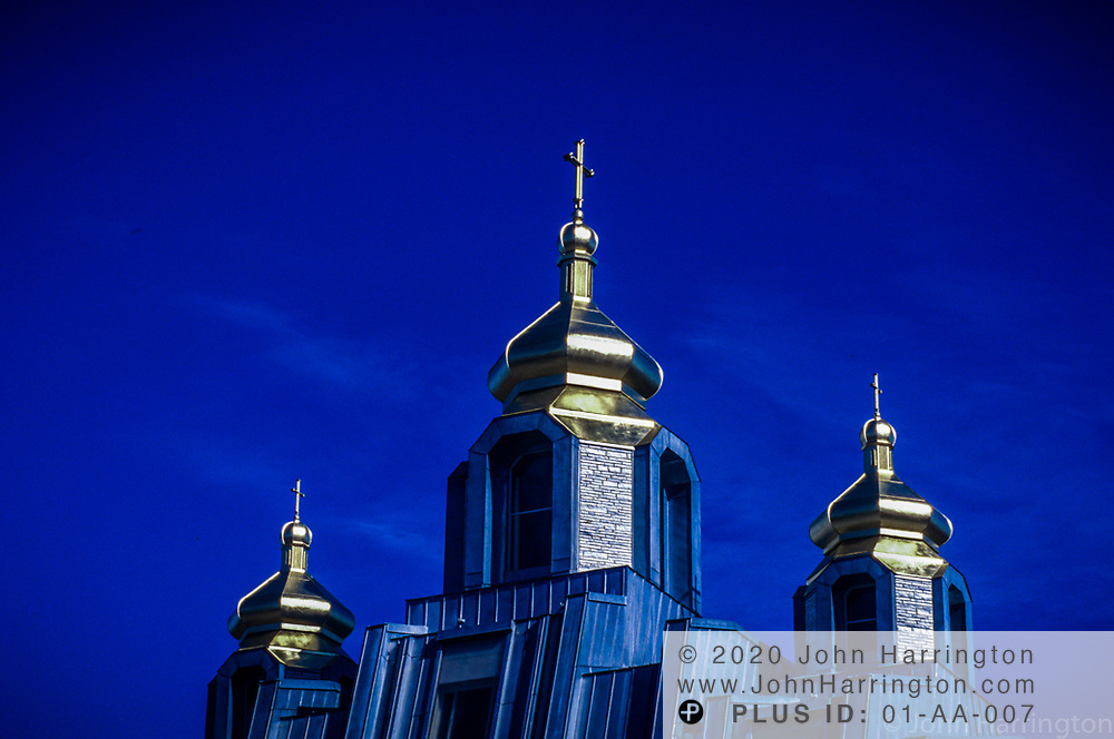A detailed view of a Russian Orthodox Church