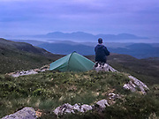 The west shore of Loch Striven became too difficult to follow so I took to the high ground and made camp with a view across to the isle of Arran.