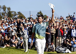 Bubba Watson celebrates after finishing his final shot to the 18th hole on the final round of the PGA Tour Genesis Open golf tournament at Riviera Country Club in the Pacific Palisades area of Los Angeles, the United States Sunday, February 18, 2018. Watson won the Genesis Open. (Credit Image: © Zhao Hanrong/Xinhua via ZUMA Wire)