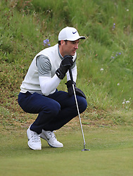Ross Fisher lines up his putt on the 10th green during day two of the Betfred British Masters at Hillside Golf Club, Southport.