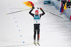 February 12, 2018 - Pyeongchang, SOUTH KOREA - 180212  Laura Dahlmeier of Germany celebrates after the Women's Biathlon 10km Pursuit during day three of the 2018 Winter Olympics on February 12, 2018 in Pyeongchang..Photo: Jon Olav Nesvold / BILDBYRN / kod JE / 160156 (Credit Image: © Jon Olav Nesvold/Bildbyran via ZUMA Press)