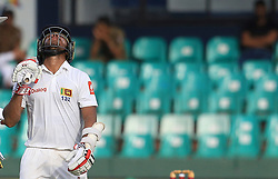August 5, 2017 - Colombo, Sri Lanka - Sri Lankan cricketer Kusal Mendis reacts after his dismissal during the 3rd Day's play in the 2nd Test match between Sri Lanka and India at the SSC international cricket stadium at the capital city of Colombo, Sri Lanka on Saturday 5th August 2017. (Credit Image: © Tharaka Basnayaka/NurPhoto via ZUMA Press)