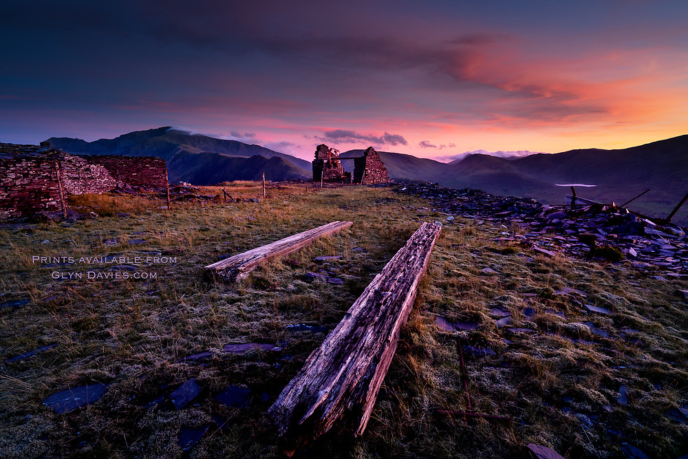 UNESCO World Heritage Site<br /> <br /> The most incredible sunset over the industrial relics of the Dinorwic slate quarries in Snowdonia. It was so peaceful up there, absolute silence as I studied the clouds gently mutating in the rich sunset over Yr Wyddfa, Wales' highest mountain.