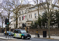 The Russian embassy in Kensington following British Prime Minister Theresa May's decision to expel 23 diplomatic officials in the wake of the Salisbury poisoning incident which has former double agent Sergei Skripal and his daughter along with a police officer who tried to assist.. London, March 14 2018.