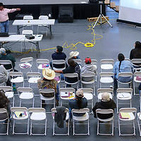 A crowd gathers at the wellness center on the Navajo Technical University campus in Crownpoint Friday to participate in the first day of the annual sheep conference.