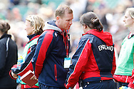 Photo by Andrew Tobin/Tobinators Ltd. England womens 7's coach Barry Maddocks looks on during the IRB London Rugby 7s tournament held at Twickenham Stadium, London on 12th May 2013. New Zealand won the tournament beating Australia in the final, and also won the overall 2012/13 series.
