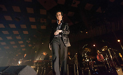 A wide shot of frontman Nick Cave, of Nick Cave and the Bad Seeds, on stage tonight at The Barrowlands, Glasgow, Scotland.<br /> ©Michael Schofield.
