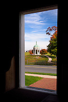 The Maryland Memorial, Antietam National Battlefield, Sharpsburg, Maryland, USA seen through the door of Dunker Church.