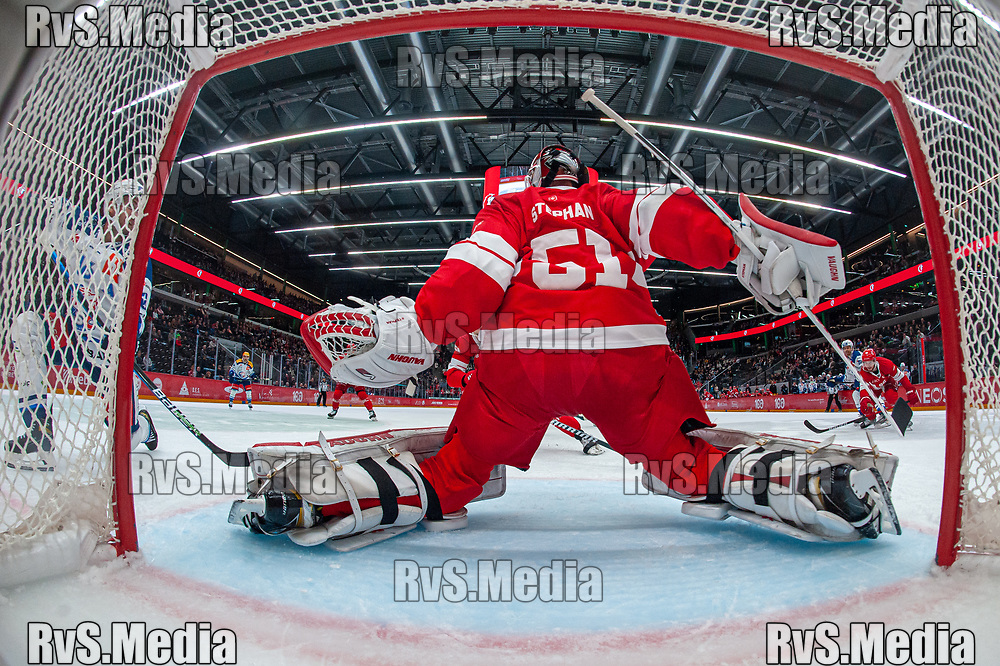 LAUSANNE, SWITZERLAND - OCTOBER 01: Marcus Kruger #16 of ZSC Lions tries to score against Goalie Tobias Stephan #51 of Lausanne HC during the Swiss National League game between Lausanne HC and ZSC Lions at Vaudoise Arena on October 1, 2021 in Lausanne, Switzerland. (Photo by Monika Majer/RvS.Media)