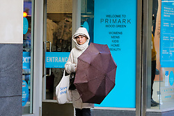 © Licensed to London News Pictures. 03/11/2020. London, UK. A shopper outside Primark store in north London. Primark has extended its opening hours from 8am to 8pm, a few days before the second lockdown begins in England. This is following the announcement of the second lockdown in England from Thursday 5 November until Wednesday 2 December, as coronavirus cases are increasing. The owner of Primark, Associated British Foods, has also warned that the new lockdown restrictions could result in a £375 million loss for the store. Photo credit: Dinendra Haria/LNP