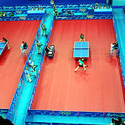 A panoramic image of the Table Tennis competition at Sydney Olympic Park during the  2000 Sydney Olympic Games...Panoramic images from the Sydney Olympic Games, Sydney, Australia. 2000 . Photo Tim Clayton