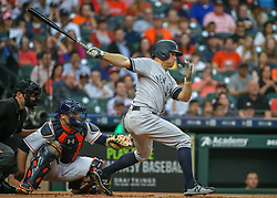 April 30, 2018 - Houston, TX, U.S. - HOUSTON, TX - APRIL 30:  New York Yankees left fielder Brett Gardner (11) grounds to second in the top of the first inning during the baseball game between the New York Yankees and Houston Astros on April 30, 2018 at Minute Maid Park in Houston, Texas.  (Photo by Leslie Plaza Johnson/Icon Sportswire) (Credit Image: © Leslie Plaza Johnson/Icon SMI via ZUMA Press)