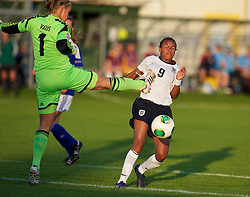 28.08.2013, Richmond Park, Carmarthen, ENG, UEFA Damen U19 EM, England vs Finnland, im Bild England's Nikita Parris is fouled by Finland's goalkeeper Vera Varis for a penalty during the Semi-Final match of the UEFA Women's Under-19 Championship Wales 2013 tournament at Richmond Park. during the UEFA women U 19 championchip group A match between England and Finland at Richmond Park in Carmarthen, Great Britain on 2013/08/28. EXPA Pictures © 2013, PhotoCredit: EXPA/ Propagandaphoto/ David Rawcliffe<br /> <br /> ***** ATTENTION - OUT OF ENG, GBR, UK *****