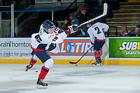 KELOWNA, CANADA - OCTOBER 16: Reid Duke #16 of the Lethbridge Hurricanes warms up against the Kelowna Rockets on October 16, 2013 at Prospera Place in Kelowna, British Columbia, Canada.   (Photo by Marissa Baecker/Shoot the Breeze)  ***  Local Caption  ***