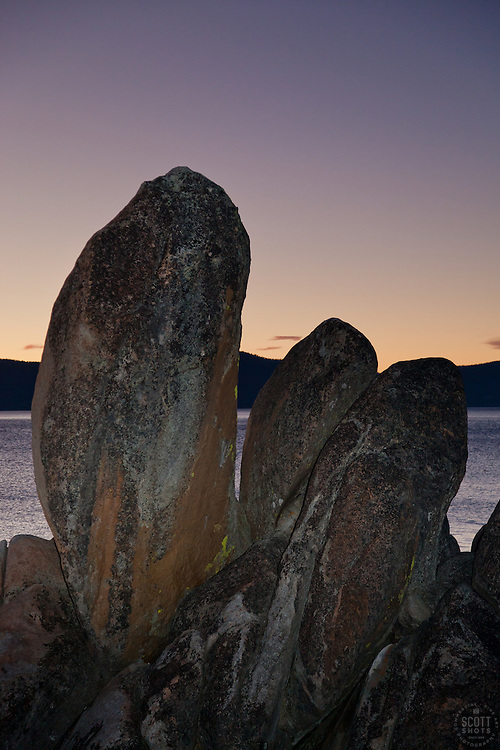 """""""Tahoe Boulders at Sunset 1"""" - These boulders were photographed near Secret Cove, Lake Tahoe at sunset."""