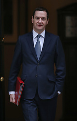 © Licensed to London News Pictures. 23/11/2015. London, UK. Chancellor of the Exchequer George Osborne leaves Number 11 Downing Street. The Chancellor will present his Autumn Statement to Parliament on November 25th. Photo credit: Peter Macdiarmid/LNP