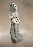 """Ancient Egyptian statue of Hel, limestone, New Kingdom, late 18th Dynasty, (1320-1280 BC), Saqqara. Egyptian Museum, Turin. <br /> <br /> The women is seated on a cushioned stool. On her head is a lotus flower. In her left hand she holds a cloth in her right a counterweight for a meant necklace, a ritual instrument used in the cult of the goddess Hathor. the statue probably stood in a tomb in Saqqara necropolis of Memphis, where the Egyptian eletes of the time had splendid tombs with statues of s similar style. The inscription evokes the deceased """"everything that comes forth in the presence of the gods of Memphis for Osiris, the lady of Hel..."""" .<br /> <br /> If you prefer to buy from our ALAMY PHOTO LIBRARY  Collection visit : https://www.alamy.com/portfolio/paul-williams-funkystock/ancient-egyptian-art-artefacts.html  . Type -   Turin   - into the LOWER SEARCH WITHIN GALLERY box. Refine search by adding background colour, subject etc<br /> <br /> Visit our ANCIENT WORLD PHOTO COLLECTIONS for more photos to download or buy as wall art prints https://funkystock.photoshelter.com/gallery-collection/Ancient-World-Art-Antiquities-Historic-Sites-Pictures-Images-of/C00006u26yqSkDOM"""