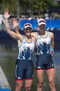 "Rio de Janeiro. BRAZIL.   GBR W2X Silver Medalist Katherine GRAINGER and Vicky THORNLLET. 2016 Olympic Rowing Regatta. Lagoa Stadium,<br /> Copacabana,  ""Olympic Summer Games""<br /> Rodrigo de Freitas Lagoon, Lagoa.   Thursday  11/08/2016 <br /> <br /> [Mandatory Credit; Peter SPURRIER/Intersport Images]"