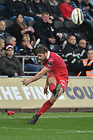 Rugby Union - 2018 / 2019 - European Champions Cup Qualification Final - Ospreys vs Scarlets<br /> <br /> Leigh Halfpenny; of Scarlets kicks a conversion… at the Liberty Stadium<br /> <br /> Credit: COLORSPORT/WINSTON BYNORTH