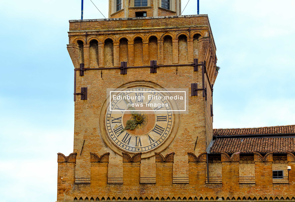 The clock on the Palazzo d'Accursio, Bologna, Italy.  Town hall complex dating from the 14th century, home to a fresco-filled chapel & fine art museum.<br /> <br /> (c) Andrew Wilson   Edinburgh Elite media