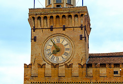 The clock on the Palazzo d'Accursio, Bologna, Italy.  Town hall complex dating from the 14th century, home to a fresco-filled chapel & fine art museum.<br /> <br /> (c) Andrew Wilson | Edinburgh Elite media