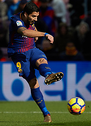 December 2, 2017 - Barcelona, Catalonia, Spain - Luis Suarez of FC Barcelona kicks the ball during the La Liga match between FC Barcelona and Real Celta de Vigo at Camp Nou on December 2, 2017 in Barcelona, Spain  (Credit Image: © David Aliaga/NurPhoto via ZUMA Press)