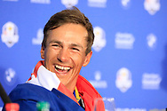 Thorbjorn Olesen (Team Europe) during media interview after the sunday singles at the Ryder Cup, Le Golf National, Paris, France. 30/09/2018.<br /> Picture Phil Inglis / Golffile.ie<br /> <br /> All photo usage must carry mandatory copyright credit (© Golffile | Phil Inglis)