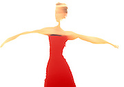 Woman in red dress blu