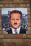 Street art poster of David Cameron depicting him as a Nazi. Street art in the East End of London is an ever changing visual enigma, as the artworks constantly change, as councils clean some walls or new works go up in place of others. While some consider this vandalism or graffiti, these artworks are very popular among local people and visitors alike, as a sense of poignancy remains in the work, many of which have subtle, poetic or political messages.