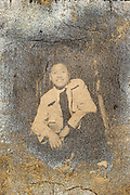 oxidizing photo portrait of a smiling young adult boy Japan ca 1950s