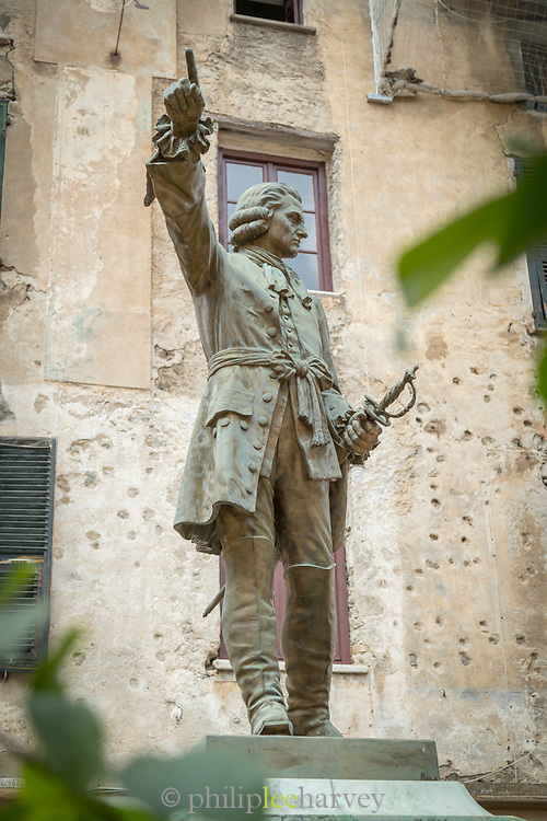 Low angle view of statue of Vincentello dIstria, Place Gaffory, Corte, Corsica, France
