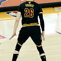 12 June 2017: Cleveland Cavaliers guard Kyle Korver (26) is seen during the Golden State Warriors 129-120 victory over the Cleveland Cavaliers, in game 5 of the 2017 NBA Finals, at the Oracle Arena, Oakland, California, USA.