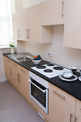 The kitchen in a show flat of a warden aided complex for older people,