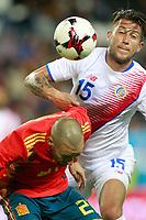 Spain's David Jimenez Silva (l) and Costa Rica's Francisco Calvo during international friendly match. November 11,2017.(ALTERPHOTOS/Acero)