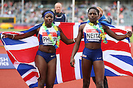 athlete Daryll Neita poses with Asha Philip as both have qualified for the Rio 2016 Olympics. The British Championships 2016, athletics event at the Alexander Stadium in Birmingham, Midlands  on Saturday 25th June 2016.<br /> pic by John Patrick Fletcher, Andrew Orchard sports photography.