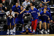 7 APR 2008: The University of Kansas bench reacts to the closing moments of the 2nd half during final game of the 2008 NCAA Final Four Division I Men's Basketball championships held at the Alamodome in San Antonio, TX.  Kansas defeated Memphis 75-68 to win the national title.  Brett Wilhelm/NCAA Photos