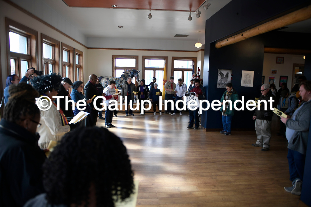 The interfaith prayer before the Martin Luther King Jr. march, Monday, Jan. 21 at the Gallup Cultural Center.