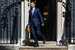 © Licensed to London News Pictures. 21/05/2019. London, UK. Foreign Secretary Jeremy Hunt leaves 10 Downing Street after the Cabinet meeting. Prime Minister Theresa May is expected to make a statement to Paliament outlining changes to the Withdrawal Agreement Bill before it is brought back before Parliament. Photo credit: Rob Pinney/LNP