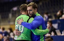 Urban Lesjak of Slovenia and Klemen Ferlin of Slovenia look dejected after the handball match between National Teams of Sweden and Slovenia at Day 3 of IHF Men's Tokyo Olympic  Qualification tournament, on March 14, 2021 in Max-Schmeling-Halle, Berlin, Germany. Photo by Vid Ponikvar / Sportida