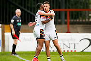 Bradford Bulls winger Iliness Macani (5) scores a try and celebrates to make the score 18-20 during the Kingstone Press Championship match between Sheffield Eagles and Bradford Bulls at, The Beaumont Legal Stadium, Wakefield, United Kingdom on 3 September 2017. Photo by Simon Davies.