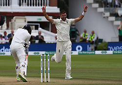 August 12, 2018 - London, Greater London, United Kingdom - England's James Anderson  celebrates LBW on \Keaton.L.Rahul of India.during International Test Series 2nd Test 4th day  match between England and India at Lords Cricket Ground, London, England on 12 August  2018. (Credit Image: © Action Foto Sport/NurPhoto via ZUMA Press)