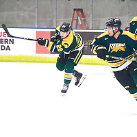 4th year defence man, Landon Peel (28) of the Regina Cougars during the Men's Hockey Home Game on Sat Jan 26 at Co-operators Center. Credit: Arthur Ward/Arthur Images