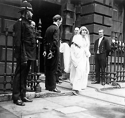 Lady Elizabeth Bowes-Lyon (later the Queen Mother) leaving her home in Bruton Street, London, on her way to Westminster Abbey for her wedding to the Duke of York (later King George VI).