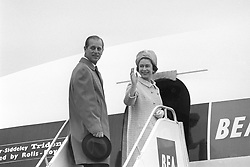 File photo dated 14/11/67 of Queen Elizabeth II and the Duke of Edinburgh boarding Trident airliner of British European Airways at Heathrow Airport to travel to Malta for a four-day visit. The Royal couple will celebrate their platinum wedding anniversary on November 20.