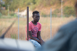 August 3, 2017 - Rome, Italy - The lives of migrants in the full hot summer in Rome in the Piazzale Maslax camp behind the Tiburtina Station organized by the volunteers of the Baobab Experience association (Credit Image: © Matteo Nardone/Pacific Press via ZUMA Wire)