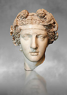 Roman sculpted head of Dionysus inspired by a Hellenistic original. Found in the Horti Lamiani near the Piazza Vittorio Emanuele, Rome. M.C. Inv 1129, The Capitoline Museums, Rome..<br /> <br /> If you prefer to buy from our ALAMY STOCK LIBRARY page at https://www.alamy.com/portfolio/paul-williams-funkystock/greco-roman-sculptures.html . Type -    Capitoline    - into LOWER SEARCH WITHIN GALLERY box - Refine search by adding a subject, place, background colour, etc.<br /> <br /> Visit our ROMAN WORLD PHOTO COLLECTIONS for more photos to download or buy as wall art prints https://funkystock.photoshelter.com/gallery-collection/The-Romans-Art-Artefacts-Antiquities-Historic-Sites-Pictures-Images/C0000r2uLJJo9_s0